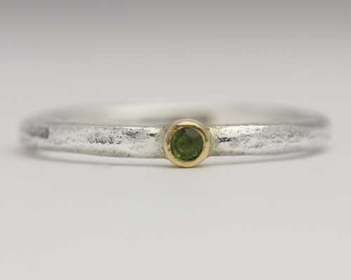 Silver Tourmaline Engagement Ring