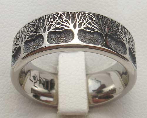 Woodland Forest & Trees Titanium Ring