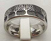 Titanium ring trees engraving