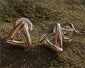 Silver triangular earrings