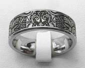 Titanium ring with an Aztec Mayan tribal engraving