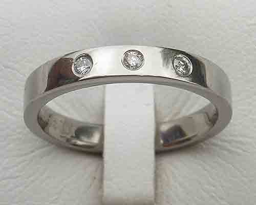 Triple Diamond Titanium Ring For Women
