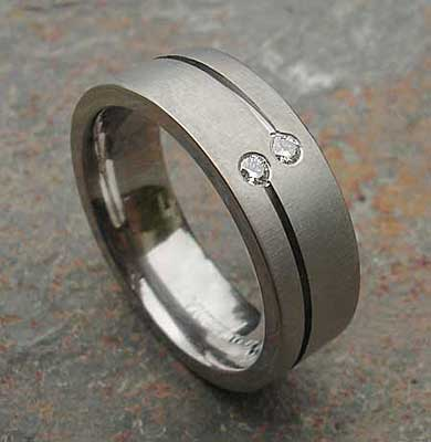Twin diamond titanium wedding ring