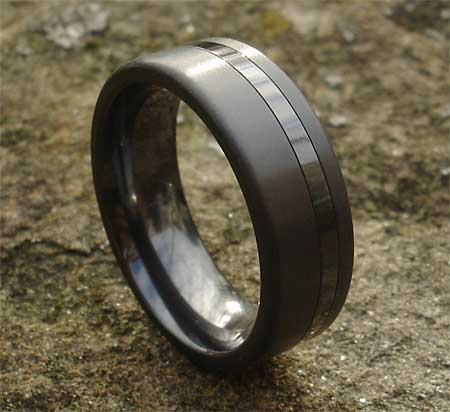 Mens Twin Finish Black Wedding Ring LOVE2HAVE in the UK