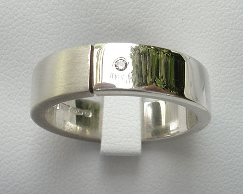 Twin finish silver diamond wedding ring