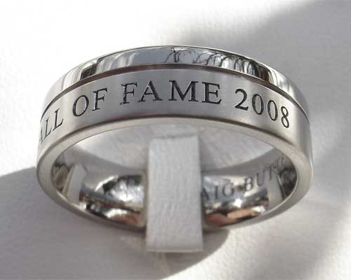 Twin finish personalised wedding ring