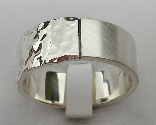 Mens Twin Dual Finish Silver Ring