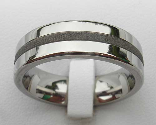 Affordable Twin Finish Titanium Wedding Ring