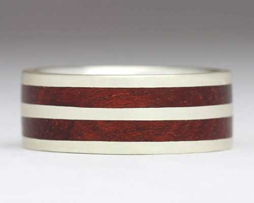 Twin inlay silver and wooden wedding ring