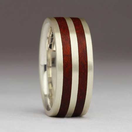 Twin inlay sterling silver and wooden wedding ring