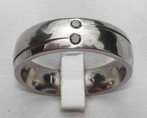 Titanium Ring With Two Black Diamonds