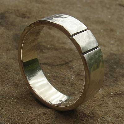 Two etched lines sterling silver wedding ring