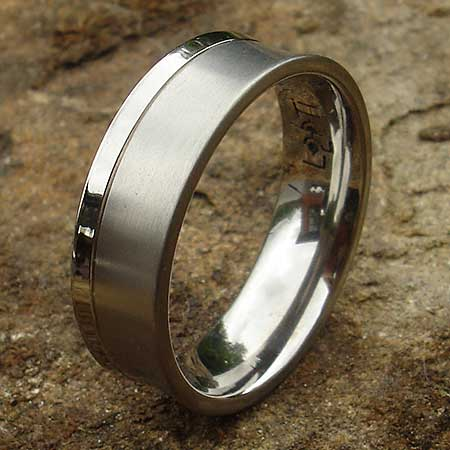 Two tone concave titanium wedding ring