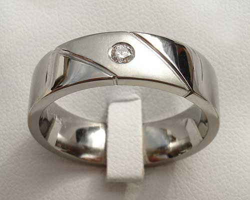 Twin Finish Diamond Set Titanium Wedding Ring