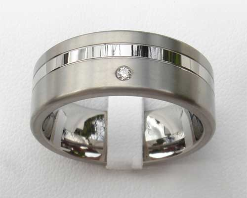 Two Tone Diamond Set Titanium Wedding Ring