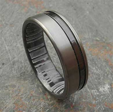 Two tone finish mens wedding ring