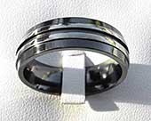 Two tone mens alternative wedding ring