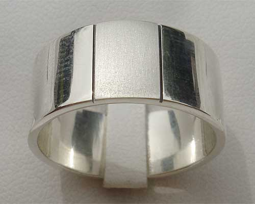 Mens Two Tone Silver Ring