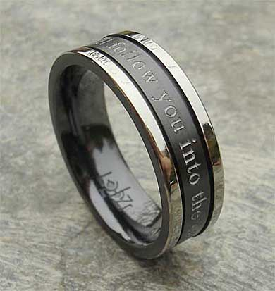 Two tone outer engraved wedding ring