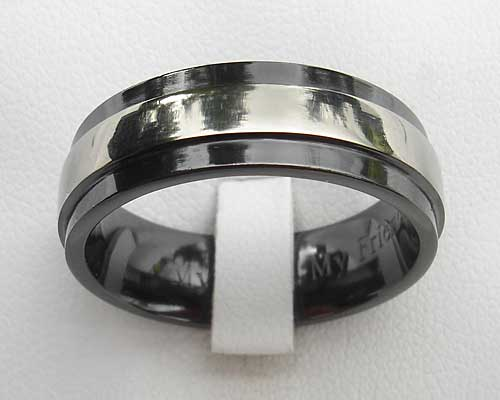 Mens Black Wedding Ring In A Twin Finish