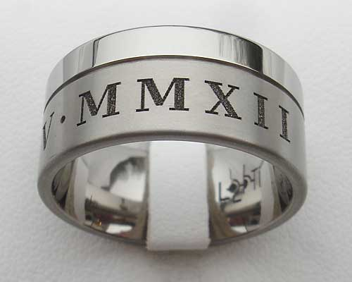 Mens Two Tone Roman Numerals Wedding Ring