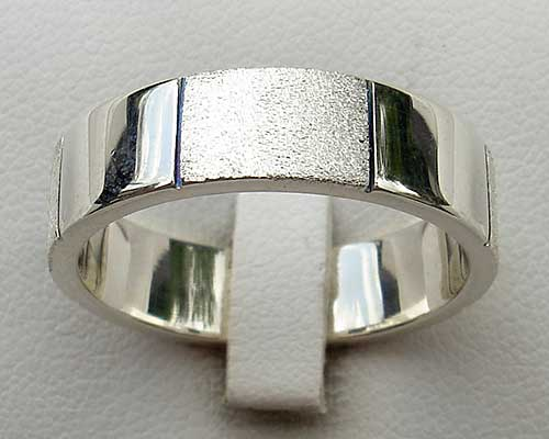 Mens Twin Finish Silver Ring