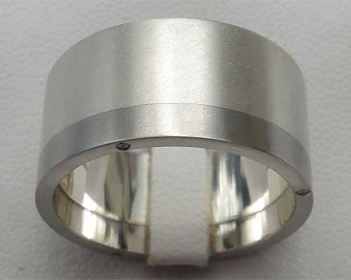 Mens Diamond Set Stainless Steel & Silver Wedding Ring