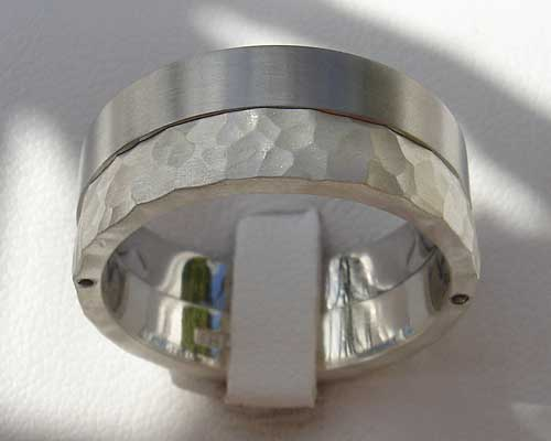 Men's two tone steel wedding ring