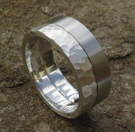 Two tone steel wedding ring