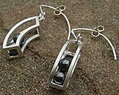 Unique drop silver earrings