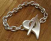 Womens sterling silver heart bracelet