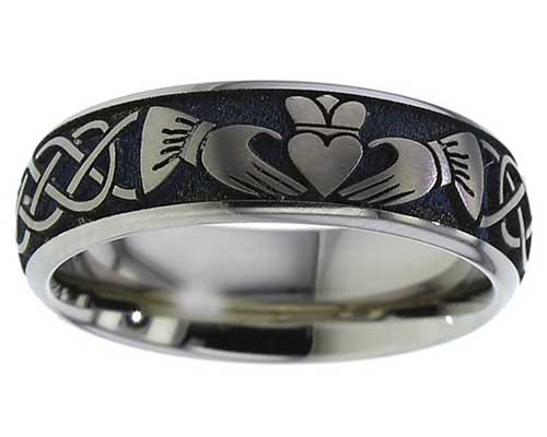 Unusual Claddagh Titanium Ring