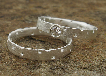 Unusual designer silver engagement and wedding ring