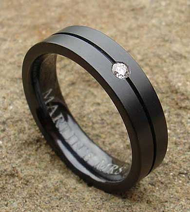 Unusual diamond set wedding ring