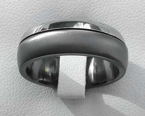 Unusual domed two tone mens wedding ring