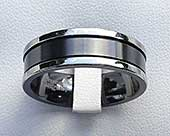 Unusual mens two tone wedding ring