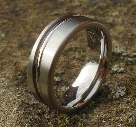 Unusual contemporary plain wedding ring