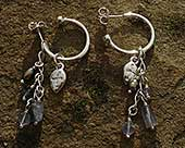 Unusual silver Celtic hoop earrings