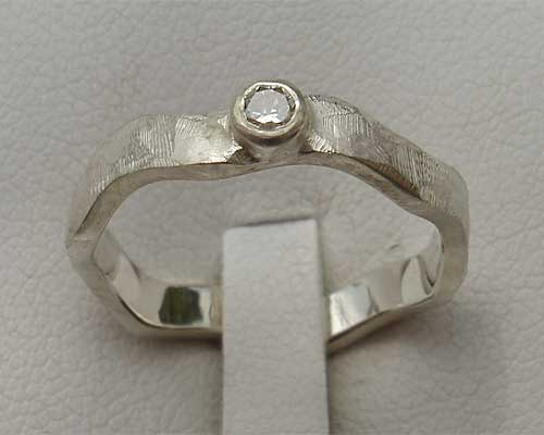 Contemporary Shaped Silver Engagement Ring