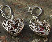Unusual silver heart earrings
