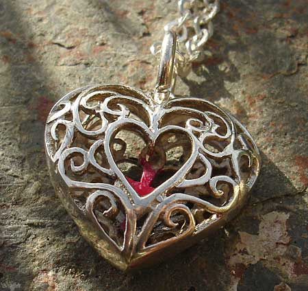 Womens Unusual Silver Heart Necklace