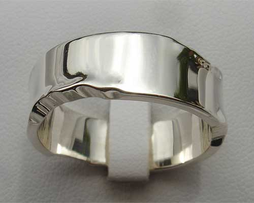 Size P Unusual Sterling Silver Wedding Ring