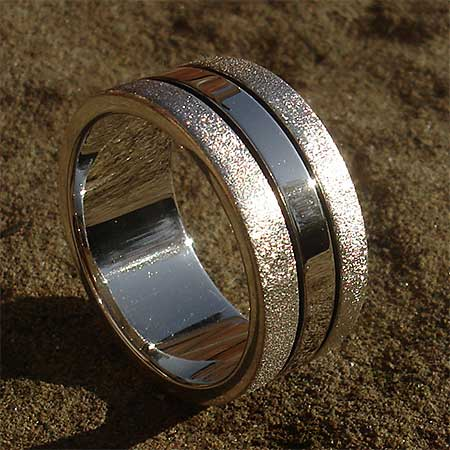 Unusual two tone silver ring for men