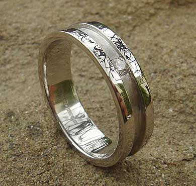 Unusual Grooved Titanium Wedding Ring : LOVE2HAVE in the UK!