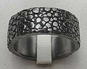 Unusually textured black Gothic ring