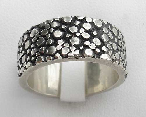 Unusually Textured Silver Gothic Ring