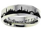 Titanium ring with the skyline of Venice