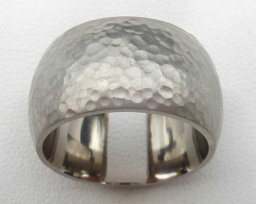 Mens Very Wide Hammered Silver Ring
