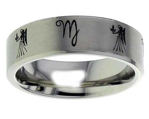 Star Sign Titanium Ring Of Virgo