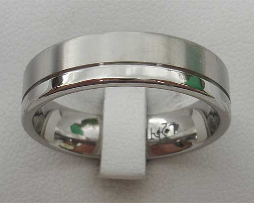 Twin Finish Titanium Wedding Ring
